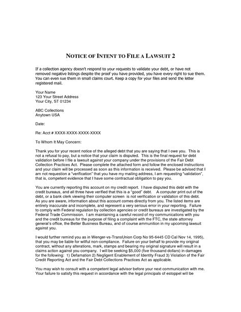 intent to sue letter template 10 best images of notice of intent to collect a debt