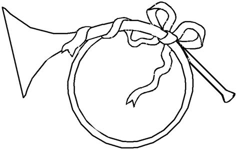printable christmas coloring page french horn