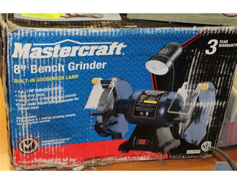 mastercraft bench grinder new mastercraft 8 quot bench grinder with light in box kastner auctions