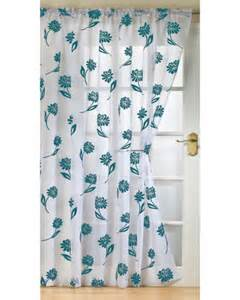 White And Teal Curtains Sicily Ready Made Voile Panel New Net Curtain Slot Top White Teal Drop Size 48 Quot 54 Quot 72 Quot 90