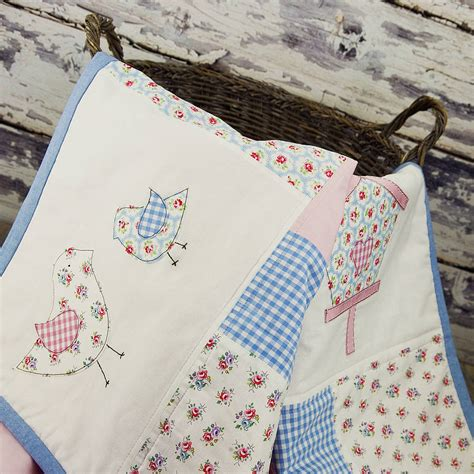 Patchwork Baby - baby bird patchwork cotbed throw by elm tree studio