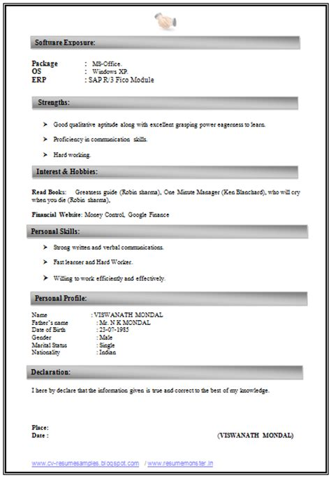 new resume format for freshers free 10000 cv and resume sles with free cv format