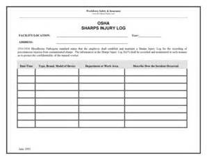 Sharps Injury Log Template sharps injury log fill printable fillable