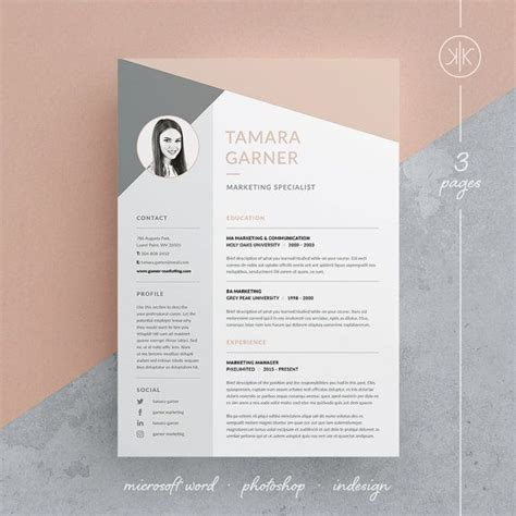 resume cover design tamara resume cv template word photoshop indesign
