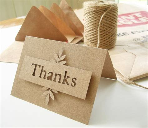 Handmade Thank You Notes - thank you notes kraft die cut with handmade envelopes