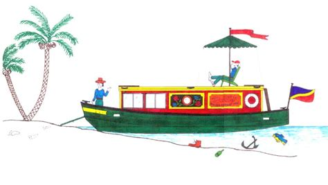 cartoon canal boat narrowboat simple drawing google search karen pinterest