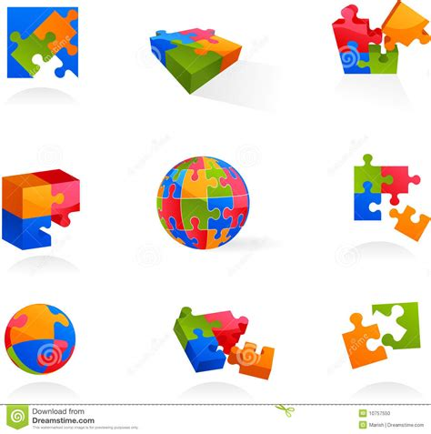 puzzle design elements vector set of vector puzzle icons and logos stock photo image