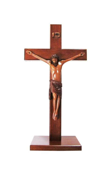 large standing crucifix christian large wood wooden corpus standing cross 25cm