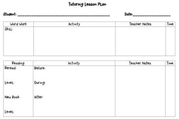 tutor lesson plan template primary tutoring lesson plan template by miss mack in