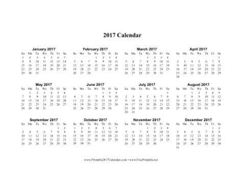 printable calendar 2017 horizontal printable 2017 calendar on one page horizontal