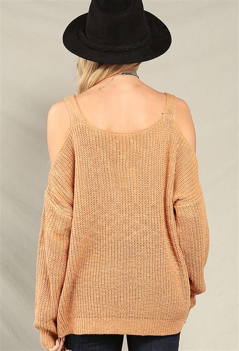 shoulder knit knit open shoulder sweater shop sweaters at papaya clothing