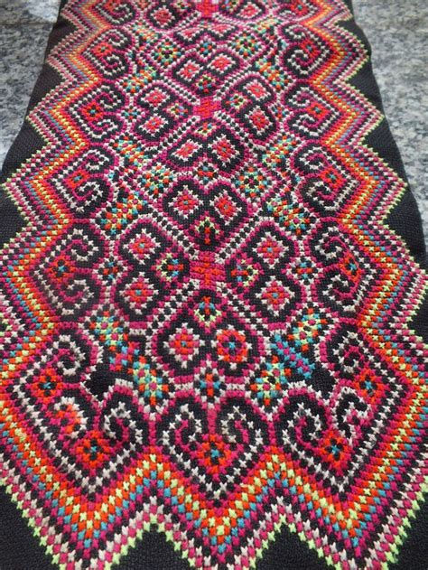 Handmade Fabrics - vintage hmong fabric handmade tapestry textiles hill