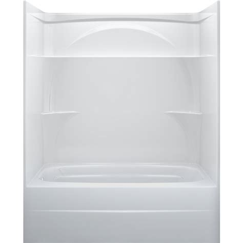 one piece bathtub enclosures shop delta white acrylic one piece shower with bathtub