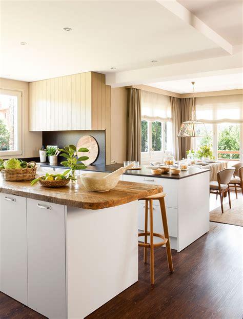 decorar comedor cocina office cocina abierta al comedor con muebles en blanco y encimera