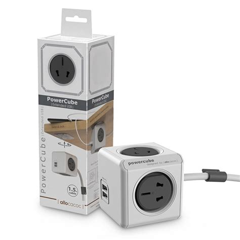Allocacoc Electric Socket Power Cube Original Usb Grey allocacoc power cube electric socket 2500w 4 china 2