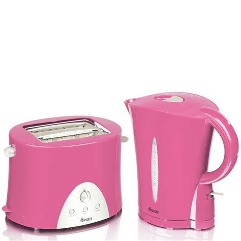 pink kitchen appliances swan kettle and toaster twin pack pink homeware thehut com