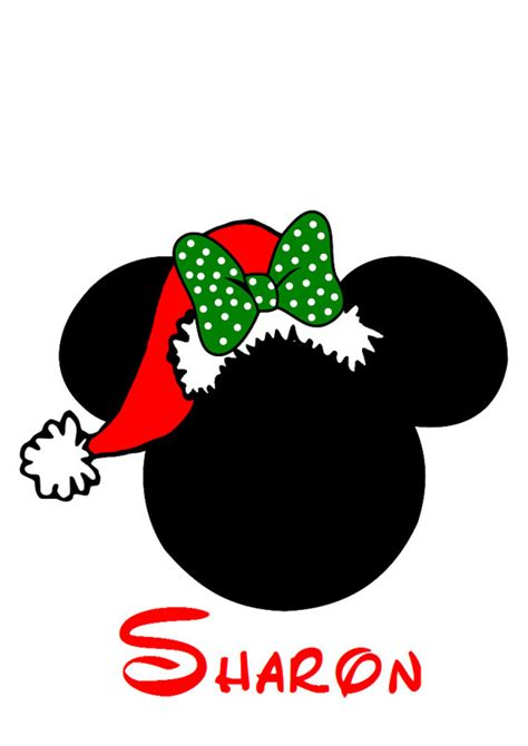 custom personalized minnie santa hat iron on transfer