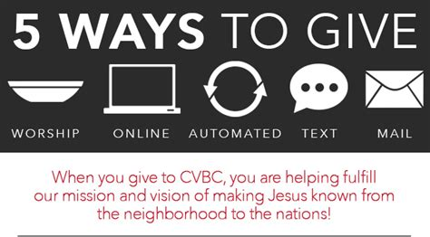 ways to give crescent valley baptist church