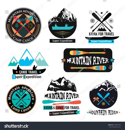 canoe boat logo canoe journey logotype sign paddle boat stock vector
