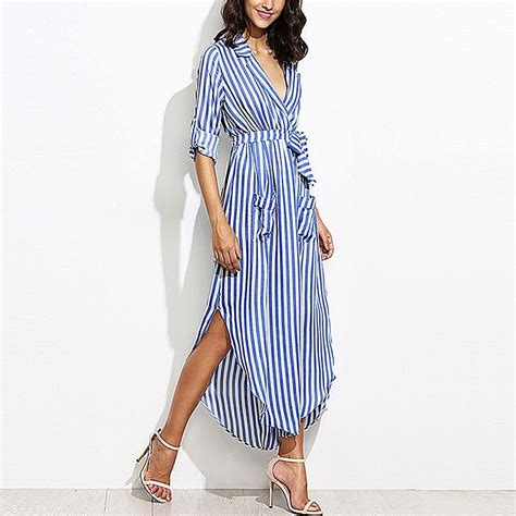 Blouse Dress Preloved Second 1 on second thought striped maxi shirt dress