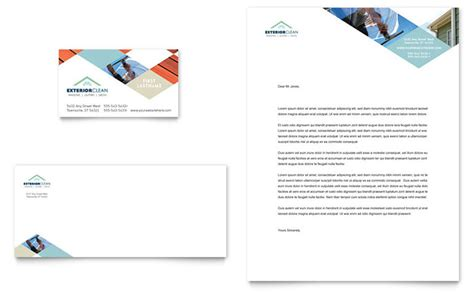 Window Cleaning Pressure Washing Business Card Letterhead Template Design Pressure Washing Template