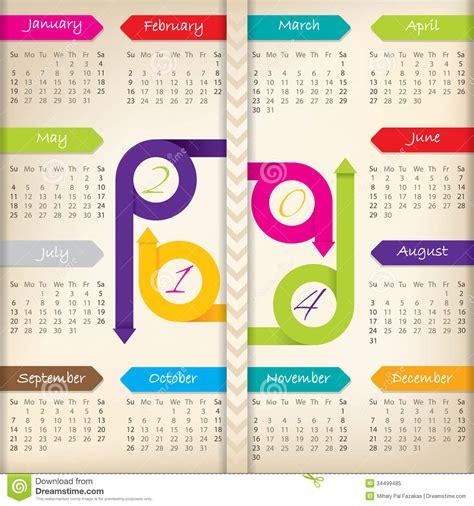 calendar ribbon design 2014 calendar with color arrow ribbons royalty free stock