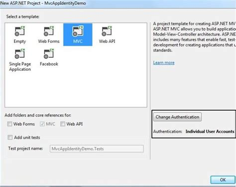getting started with asp net identity in visual studio 2013