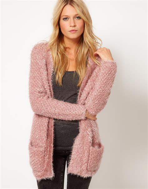 Jacket Sweater Mtma Pink asos collection asos fluffy oversized cardigan in pink lyst
