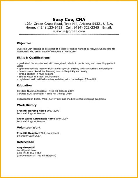 Nursing Assistant Resume Description 8 Cna Resume Skills Bursary Cover Letter