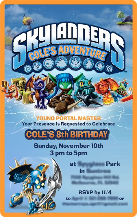 62 Best Skylanders Birthday Party Images On Pinterest Skylanders Party Anniversary Ideas And Skylanders Birthday Invitations Template