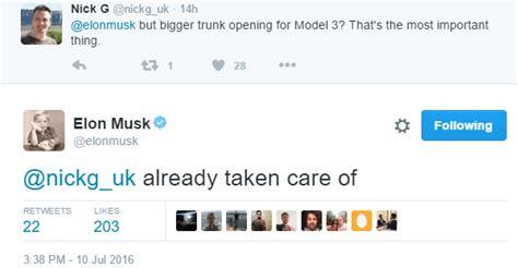elon musk on twitter elon musk on twitter confirms bigger trunk lid for tesla