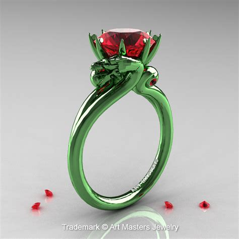 Art Masters 14K Green Gold 3.0 Ct Rubies Military Dragon