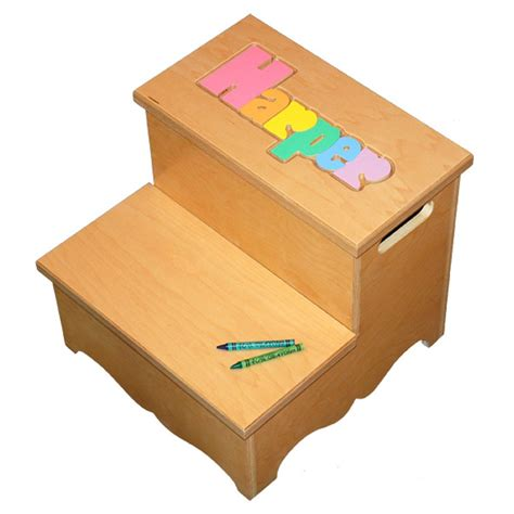 Name Puzzle Step Stool by Two Step Name Puzzle Stool Pastel Damhorst Toys