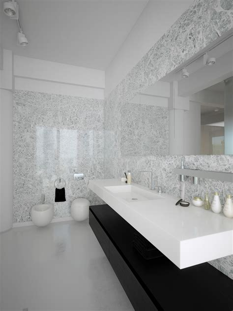 black white contemporary bathroom design interior design - White Contemporary Bathrooms