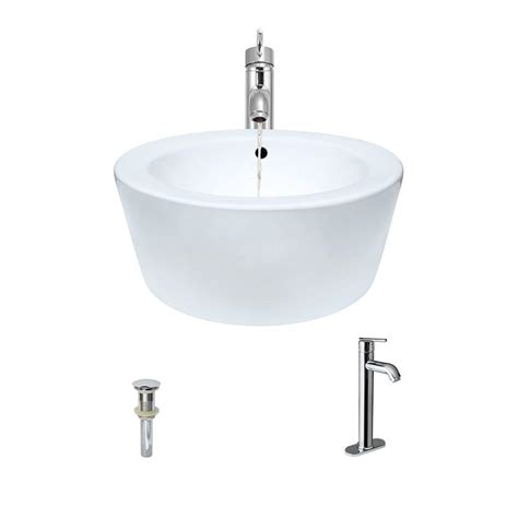 Mr Direct Porcelain Vessel In White With 718 Faucet