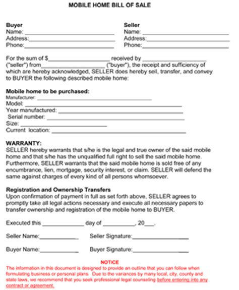 Mobile Home Bill Of Sale Form 8ws Templates Forms Bill Of Sale Template For Mobile Home