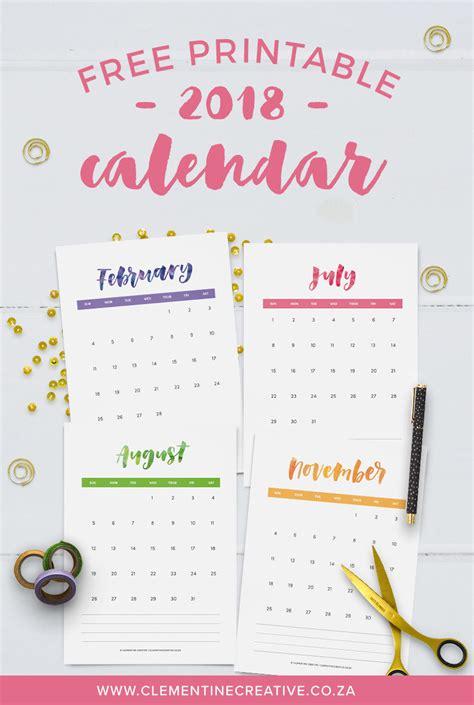free printable 2018 quarterly calendars 2 designs
