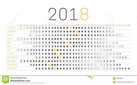 Calendrier 2018 Avec Lune Calendrier 2018 De Lune Illustration De Vecteur Image Du