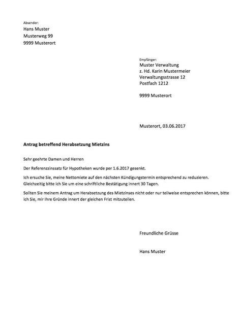 Brief Mietzinssenkung Schweiz vorlage mietzinsreduktion schweiz vorlage muster ch