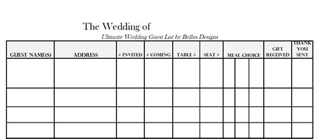 rsvp list template free downloadable wedding guest rsvp list wedding