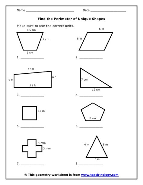 printable shapes to measure perimeter all worksheets 187 perimeter of a polygon worksheets