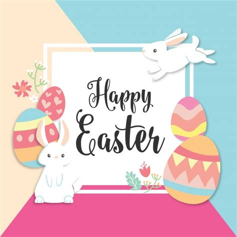 happy easter card with bunny and eggs vector free