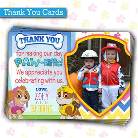 printable thank you cards paw patrol paw patrol birthday party thank you cards from inky invite