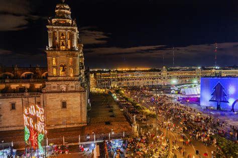 zocalo night metropolitan cathedral zocalo mexico city mexico christmas