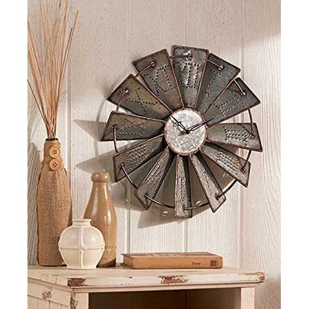 metal windmill rustic country primitive clock wall decor