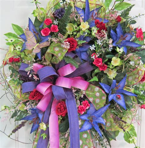 spring outdoor wreaths spring summer outdoor wreath beautiful colors in blue rose