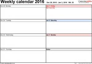 Free Printable Calendar Weekly 2016 Weekly Calendar 2016 Uk Free Printable Templates For Excel