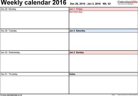 weekly calendar 2016 excel pdf word weekly calendar 2016 uk free printable templates for pdf