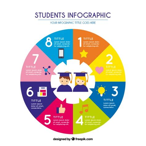 Circular Flat Infographic About Students Vector Free Download Free Infographic Templates For Students