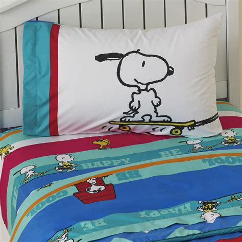 peanuts bedding peanuts by schulz boy s twin sheet set charlie brown snoopy